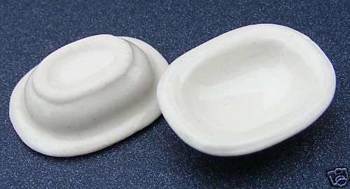 1:12 Scale 2 Cream Ceramic Serving Dishes Tumdee Dolls House Miniature Food Cr5