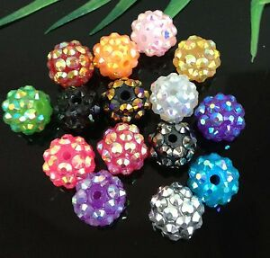 16Pcs-15Color-Resin-Twinkling-Disco-Ball-AB-Crystal-Spacer-Beads-12x10mm