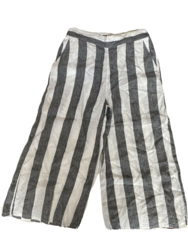 Catherine Malandrino Pants Linen Stripe Wide Crop