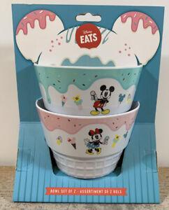 NEW-Disney-Store-Disney-Eats-Mickey-amp-Minnie-Mouse-Ice-Cream-Bowl-Set-Of-2