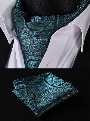 RF410Q Aqua Green Floral Silk Cravat Scarves Ascot Hanky Handkerchief Set