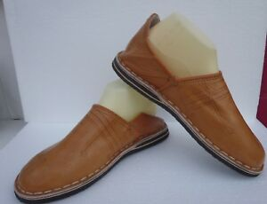 MOROCCAN-LEATHER-BABOUCHE-Slippers-TAN-ALL-SIZES
