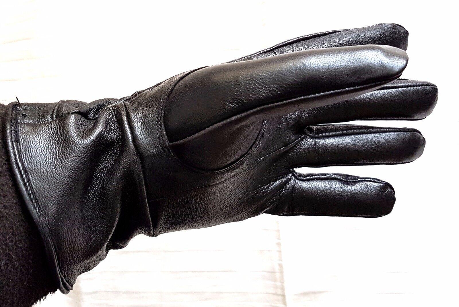Black 100% Genuine Leather Gloves SALE