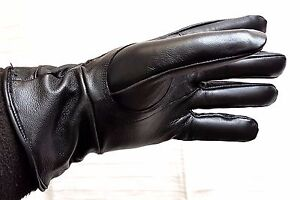 SALE-Womens-Black-100-Genuine-Leather-Gloves