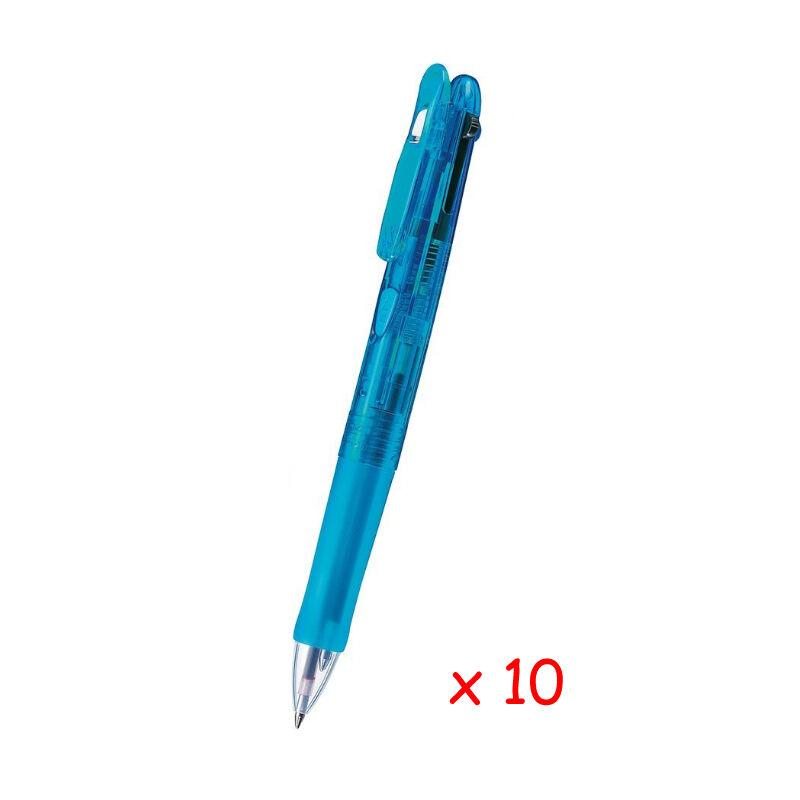Zebra ZX3C+S Multi Pen 0.7mm 3-Color Ballpoint+0.5mm Pencil 10pcs -Matte Blue