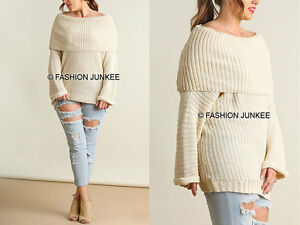 Off White Foldover Sweater Top Chunky Knit Off The Shoulder Plus