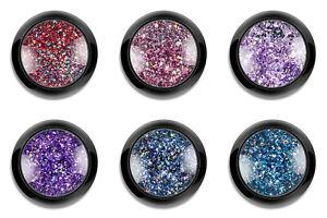 Holo Chrome Glitzer GlitterFlakes Set 2 Nail Art Nagel Design Puder Rosa  Lila
