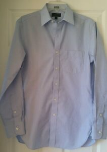 Details about J Crew Factory Men wrinkle free Voyager dress shirt end on end Small Blue $69.50