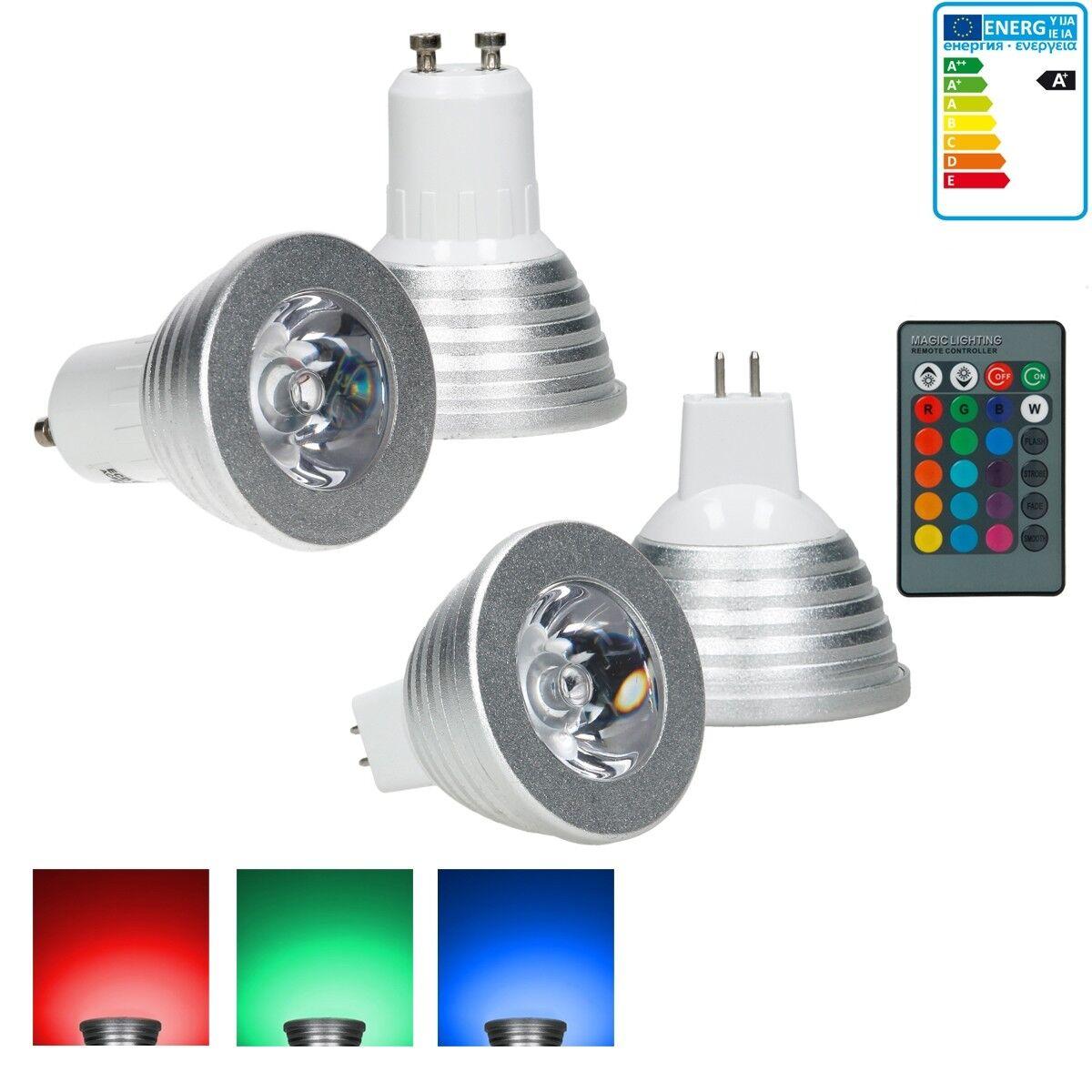 10x MR16 GU10 RGB 3W Lampadine LED spot + telecomando cambiamento colorei
