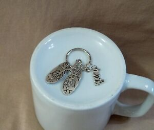 Lungs and Breathe Charm on a Keyring for Lung Disease Awareness
