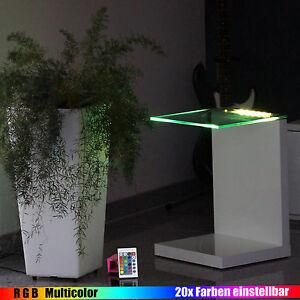 Das Bild Wird Geladen KABELLOS LED Beleuchtung Designer Tisch Glastisch Beistelltisch Wohnzimmertisch