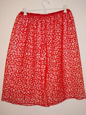 "Sheer red lace half slip 25""-55"" waist sissy shiny leopard print-XXL"