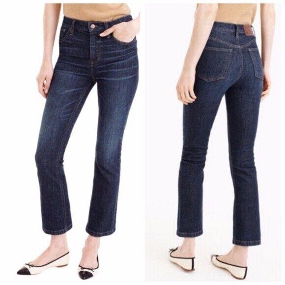 J. Crew Billie Demi Boot Cut Crop High Rise Jean in Koby, Dark Wash - Size 26