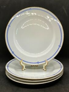 Set-Of-4-Dinner-Plates-Hutschenreuther-Selb-LHS-2101-Art-Deco-Blue-amp-White-M