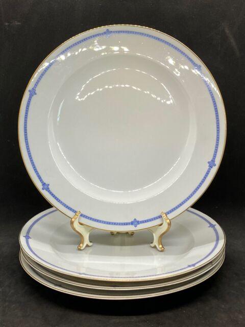 Set Of 4 Dinner Plates Hutschenreuther Selb LHS 2101 Art Deco Blue & White M