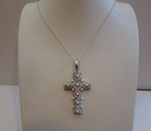 3MM WHITE PEARLS 925 STERLING SILVER CROSS NECKLACE PENDANT// DIAMONDS//18/'/'