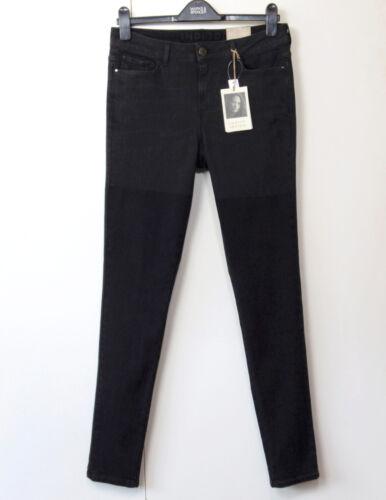 M/&S INDIGO by Lulu Kennedy SKINNY Leg JEANS ~ Size 16 Long ~ BLACK two-tone