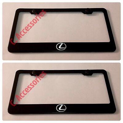 2X Lexus Logo Stainless Steel License Plate Frame Rust Free W// Bolt Caps