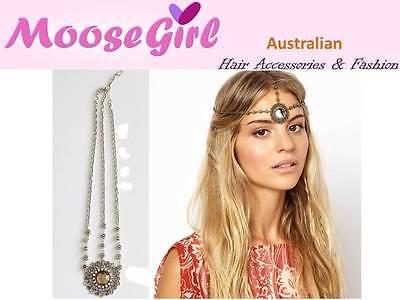 Front Head Dangling Flower Petal Gems Silver Hair Head Wrap Elastic Headband