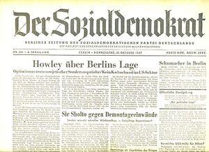 DéSintéRessé La Social-démocrate Du 30.10.1947: Howley Sur Berlin Situation-afficher Le Titre D'origine DéLicieux Dans Le GoûT