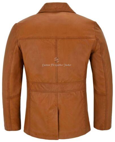 Men/'s Retro Style Real Leather Tan Lambskin Reefer Jacket Mid Length Coat 4010