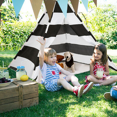 Spielzelt Kinderzelt Indianerzelt Spielhaus Zelt Eckzelt faltbar weiß + schwarz