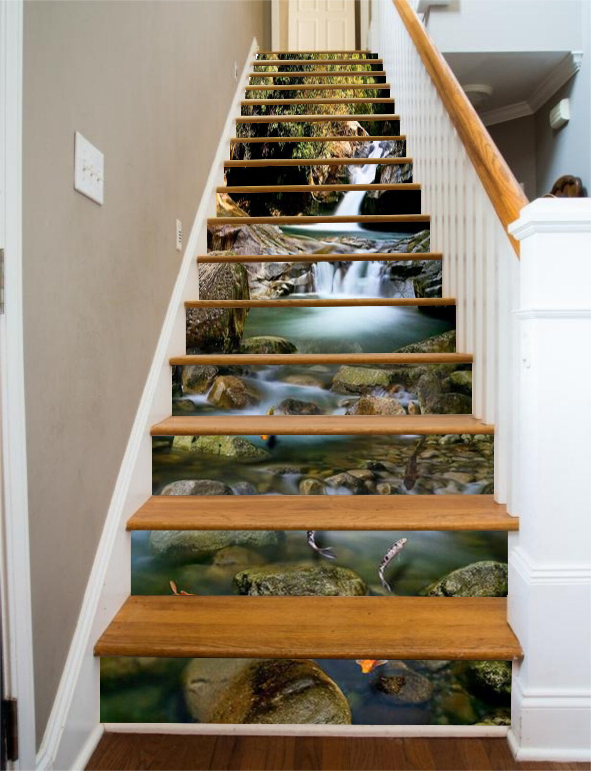 3D River Fishes 061 Stair Risers Decoration Photo Mural Vinyl Decal Wallpaper UK