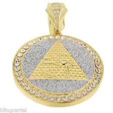 Pyramid Eye of Horus RA Pendant Glittering Gold Tone 48 mm Round Medal Charm