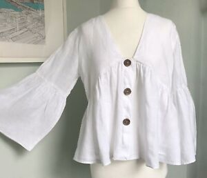 ZARA White Pure Linen Flared Bell Sleeve Top L UK 12 14 Relaxed Lagenlook Summer