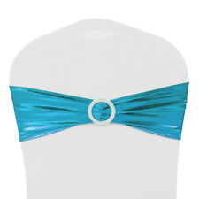 10 25 50 100 Stretch Spandex Shiny Chair Cover Sashes Buckle Bow Wedding