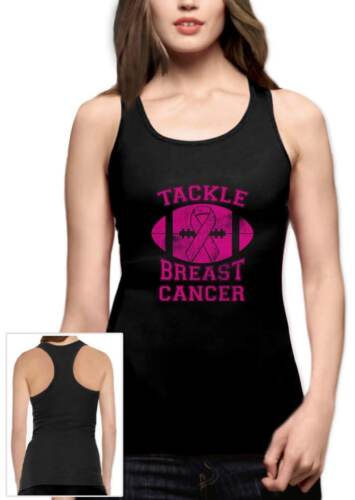 Tackle Breast Cancer Pink Ribbon Support Awareness Racerback Tank Top Fight