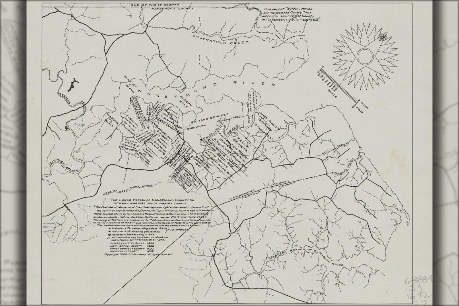 Affiche, de Plusieurs Tailles; Carte de Affiche, Suffolk Région Virginie 1642 P2 4a18b2