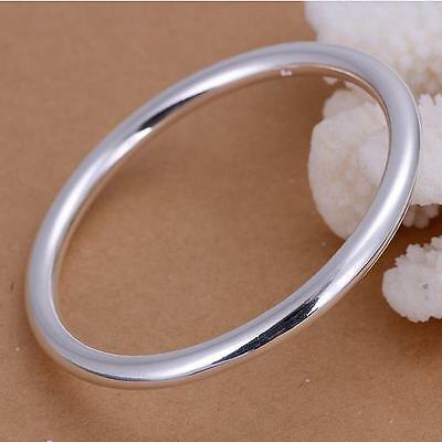 New Fashion Jewelry 925 Sterling Silver Charm Smooth Round Cuff Bracelet Gift