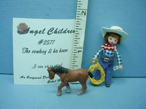 "Dollhouse Miniature NEW Ethel Hicks Angel Children Doll /""Cowboy /& Horse/"" #2377"