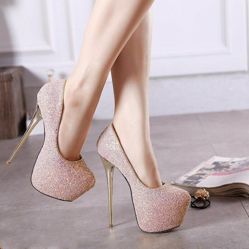 Women's Round Toe Super High Heels Sequin Causal Cocktail Evening Party shoes Ne