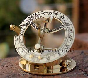 Solid-Brass-Marine-Compass-Nautical-Mini-Pocket-Round-Sundial-Navigation-Compass