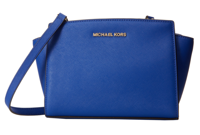 Leather Michael Messenger Electric Crossbody Kors Saffiano Selma Medium Blue Rj34L5Aq