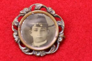 1898-Spanish-American-War-Military-Mourning-Photo-Brooch-Pin-SCARCE