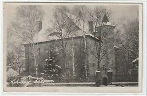 Ansichtskarte-Lehrberg-Ansbach-Blick-auf-das-Schloss-im-Winter-schwarz-weiss