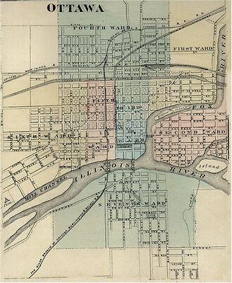 Ottawa IL LaSalle county Illinois 1876  Map Genealogy