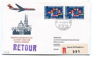 Appris Ffc 1966 Swissair First Flight Zurich Zagreb Registered Retour Flughafen ArôMe Parfumé