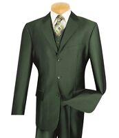 Men's Olive Sharkskin 3 Piece 3 Button Classic Fit Suit W/ Matching Vest