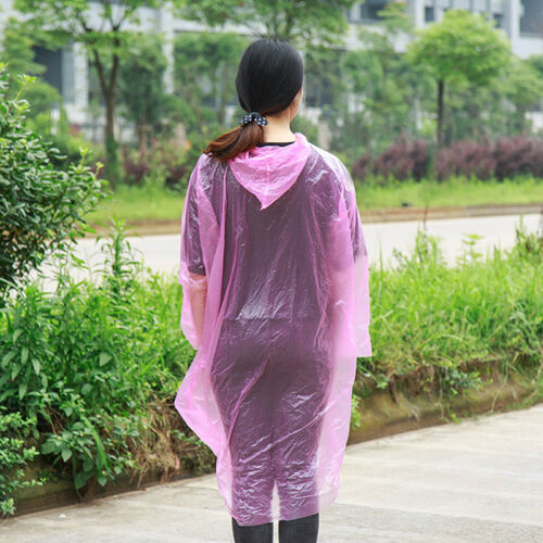 3x Disposable Adult Emergency Waterproof Rain Coat Poncho Hiking Camping