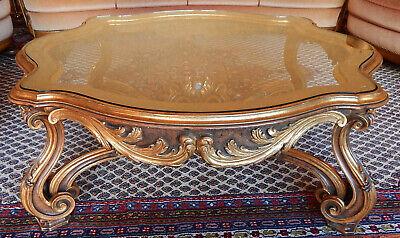 Couchtisch Barockstil Holz Schnitzerei Design Glasplatte Eingelegt