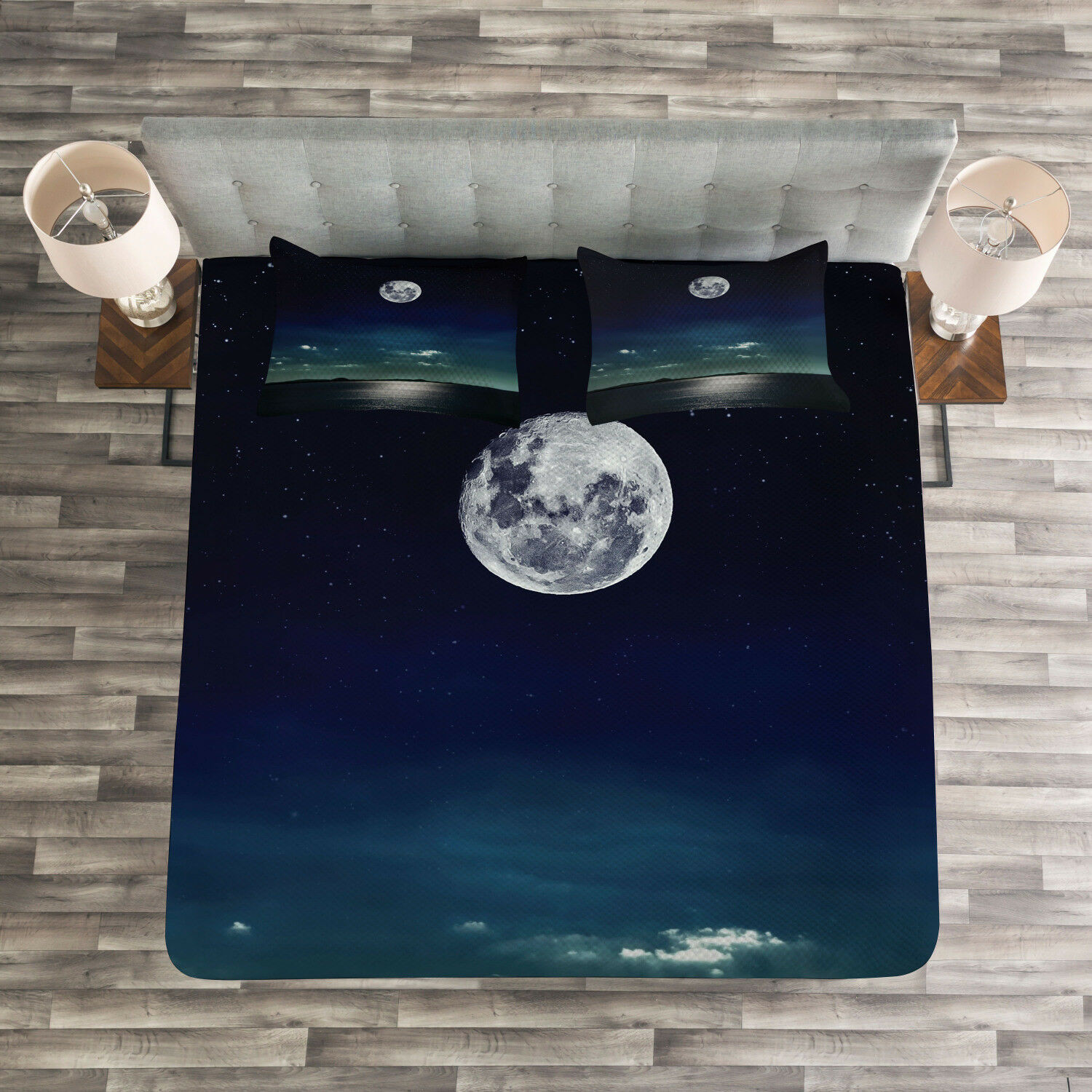 Ocean Quilted Bedspread & Pillow Shams Set, Full Moon in the Sea Print