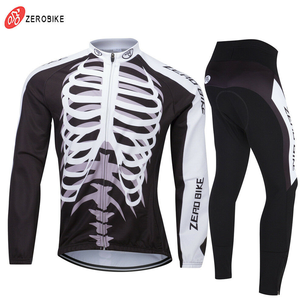 Mens Skeleton Winter Fleece Cycling Jerseys Suit Bike Clothing Bicycle Pant Sets
