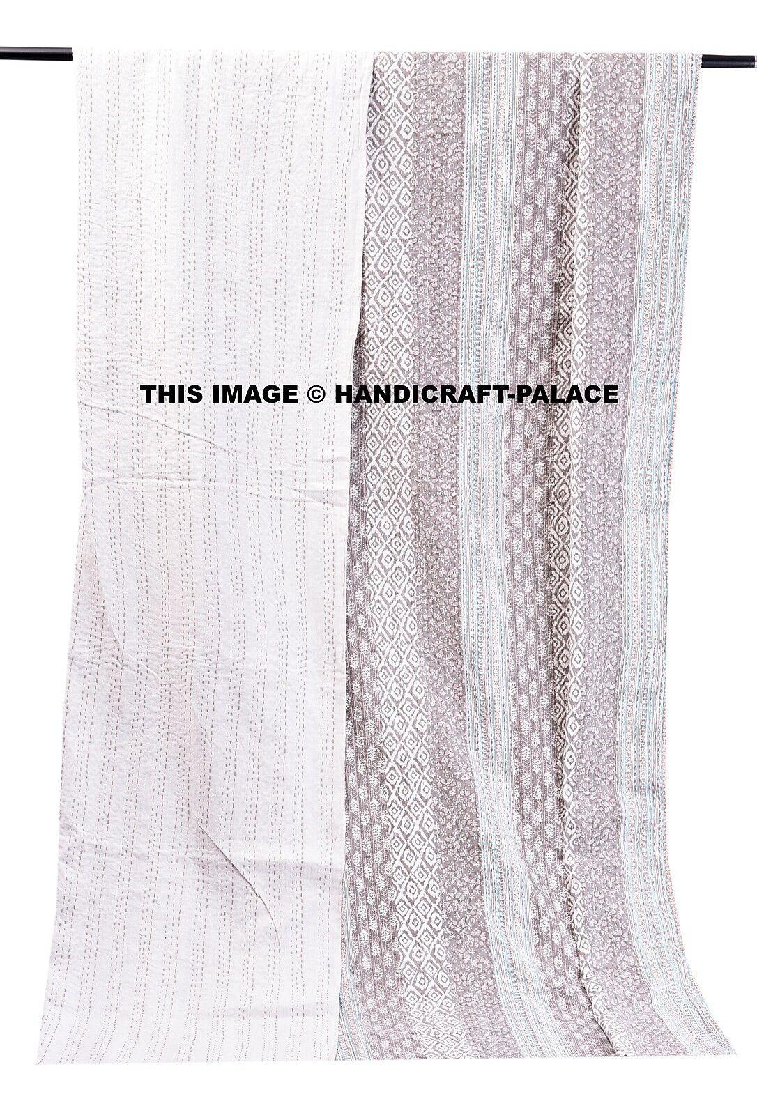 Indian Bedspread Handmade grau Kantha Quilt 100% Cotton Throw King Größe Blanket