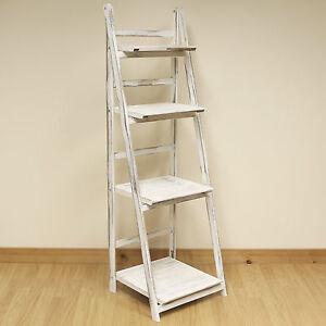 Image Is Loading 4 Tier White Wash Ladder Shelf Display Unit