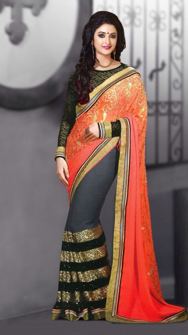 51e4f17ae26d INDIAN REP PARTY GEORGETTE ARANCIO NERO Saree Donna da Sera di marca  Bollywood nrzwza8094-Altro abbigliamento donna