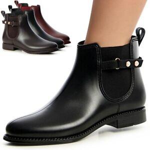 Damenschuhe Gummi Stiefel Stiefelette Regen Schuhe Chelsea Boots Matt Design